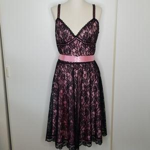 Betsey Johnson Black and Pink Lace Dress size 12